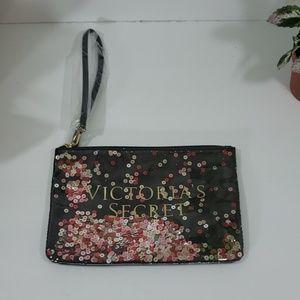 Victoria secret sequin wristlet bag NWOT